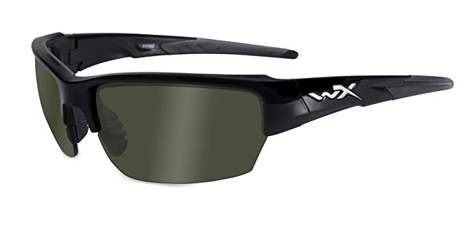 Wiley X WX Saint Glasses Polarized Smoke Green Lens Gloss Black Frame