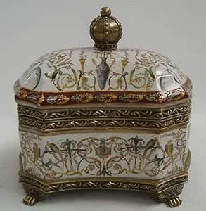 Casa Padrino Caja de joyería de Porcelana Barroco latón Antiguo/Multicolor H. 20 cm - Caja de Joyería con Tapa: Amazon.es: Hogar