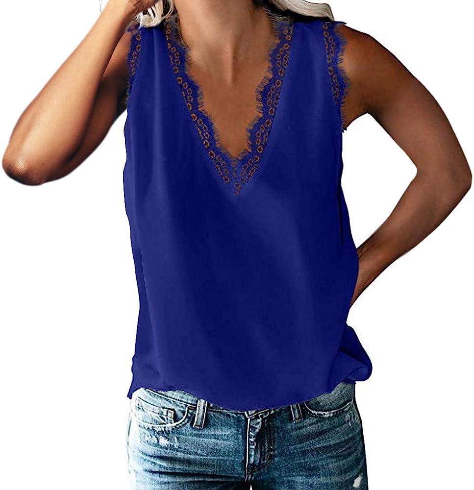 DressLksnf Camisa sin Mangas para Mujer con Cuello en V y Encaje con Cuello en V Camisa Informal sin Mangas Camisa Blusa Ligera Sexy Tank Top Cómodo Color Puro: Amazon.es: Ropa y