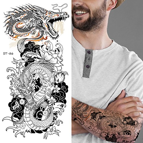 Supperb Temporary Tattoos - Two B&W Dragons (Set of 2)