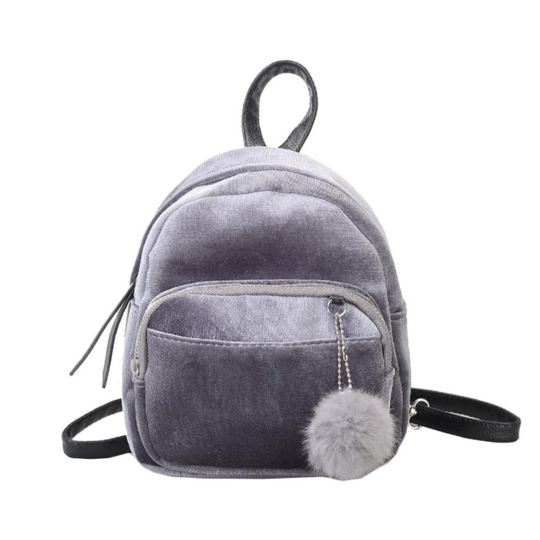 AfterSo Handbags & Wallets ガールズ 19cm/7.5\ Gray,velvet Backpack With Pom Pom B077ZS682N