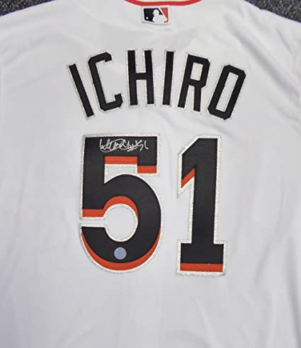 357d16631 MIAMI MARLINS ICHIRO SUZUKI AUTOGRAPHED WHITE MAJESTIC COOL BASE  JERSEY quot  51 quot  SIZE XL