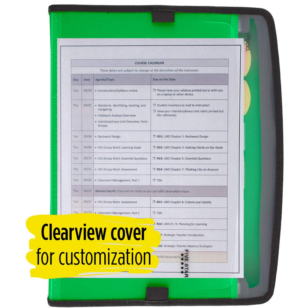Blue Customizable Zipper Closure 7-Pocket Expandable Folder Five Star Expanding File 72711