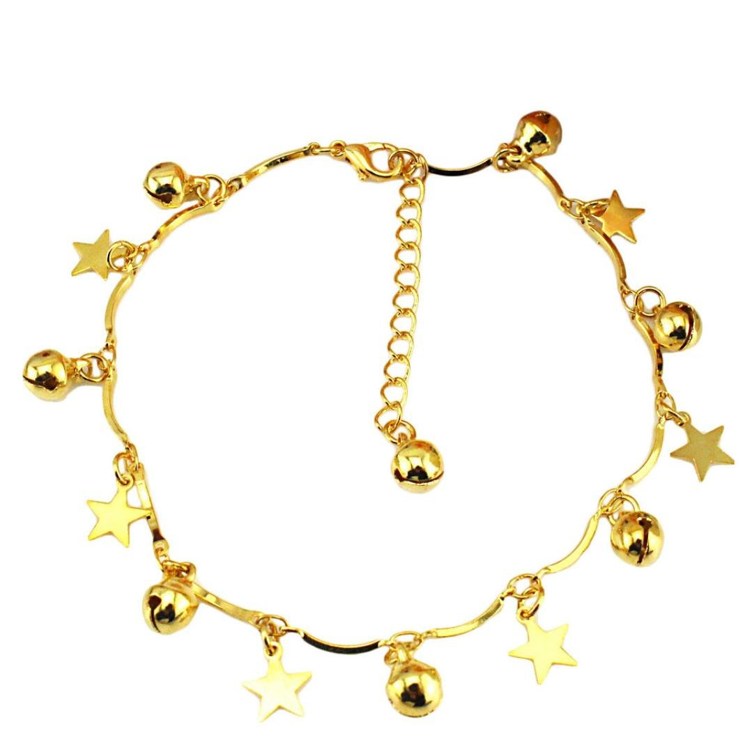 Siswong Gold Bell Star Ankle Bracelet Barefoot Sandal Beach Foot Jewelry Anklets For Women