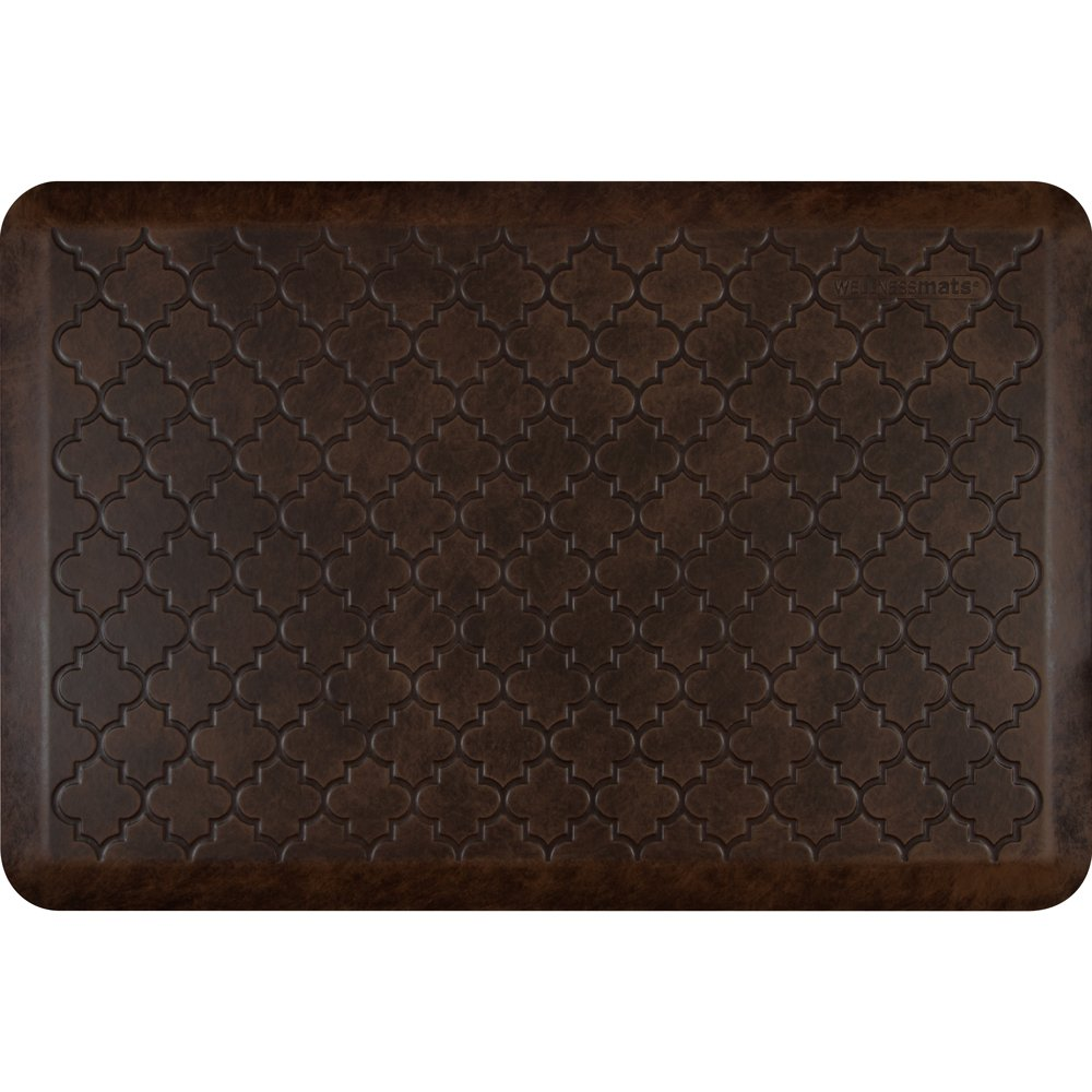 WellnessMats Anti-Fatigue 36 Inch by 24 Inch Trellis Motif Kitchen Mat, Antique Dark