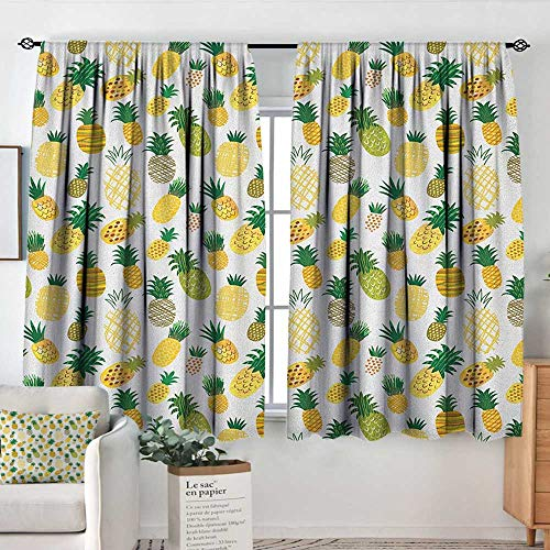 Insulating Blackout Curtains Doodle,Cartoon Style Fruits Simplistic Hand Drawn Tropical Pineapples with Stripes and Dots, Multicolor,Drapes Thermal Insulated Panels Home décor 42