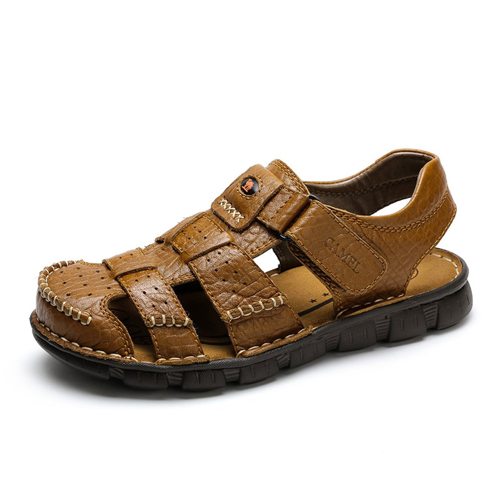 Camel Men's Fisherman Sandals Leather Breathable Close-Toe Sandal Non-Slip Adjustable Summer Beach Wear Slippers Khaki ¡