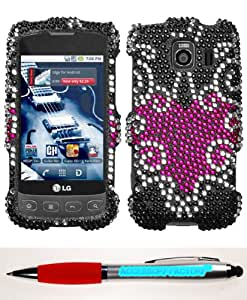 Accessory Factory(TM) Bundle (the item, 2in1 Stylus Point Pen) LG LS670 (Optimus S) Trapped Heart Full Diamond Bling Protector Cover Stylish Design Snap On Hard Case Faceplate Shell