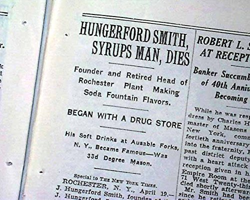 J. HUNGERFORD SMITH Desert Toppings & Syrups Fudge Founder DEATH 1932 Newspaper THE NEW YORK TIMES, April 20, 1932 -