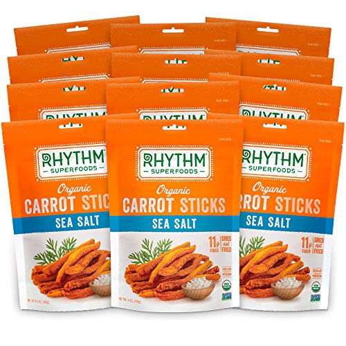 Rhythm Superfoods Carrot Sticks, Sea Salt, Organic and Non-GMO, 1.4 Oz (Pack of 12), Vegan/Gluten-Free Superfood Snacks