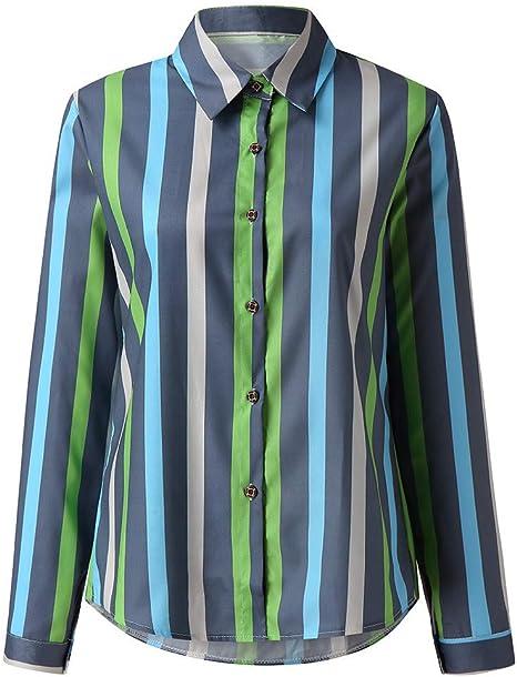 TWEIYI Camiseta Pullover Sudadera Arriba Camisas De Mujer Blusas Verano Otoño Manga Larga con Botones Rayas Damas Camisa Suelta Casual Tops Blusas De Mujer: Amazon.es: Deportes y aire libre