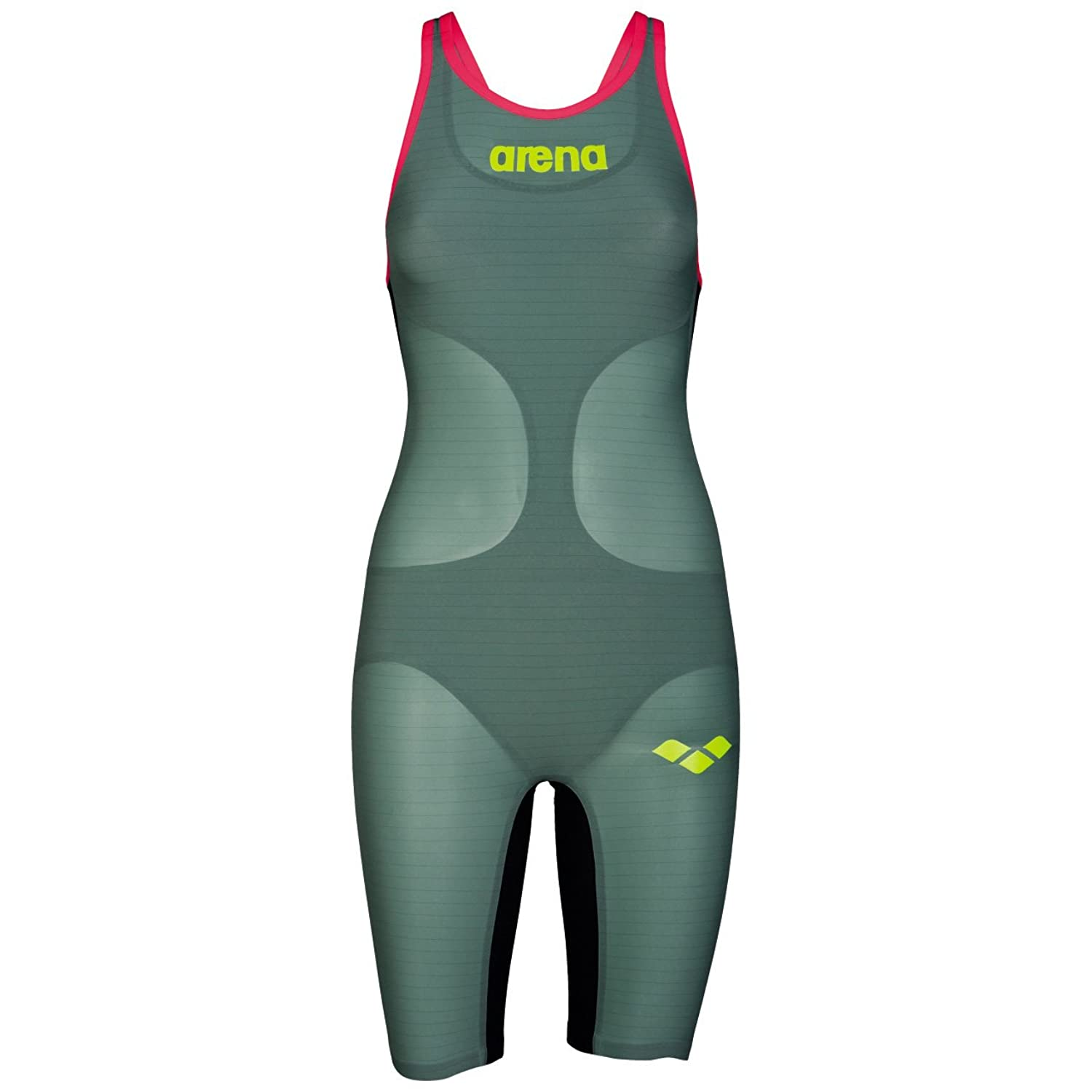 Arena Carbon Air Openback Kneesuit Dark Green / Fluo Red 26