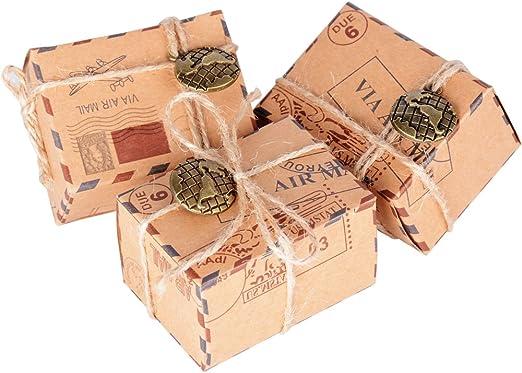 50 Pcs Cajas de Papel Kraft de Caramelo Dulces Bautizo Bombones ...