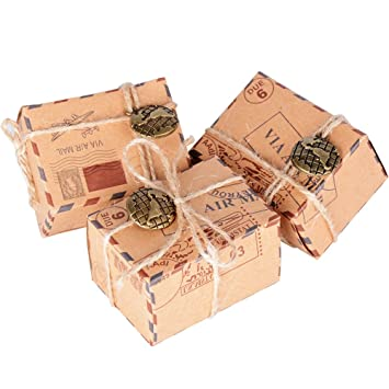 50 Pcs Cajas de Papel Kraft de Caramelo Dulces Bautizo Bombones Regalos Recuerdos Detalles para Invitados