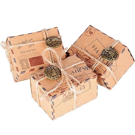 50 Pcs Cajas de Papel Kraft de Caramelo Dulces Bautizo Bombones Regalos Recuerdos Detalles para Invitados de Boda Fiesta Comunion Graduación ...