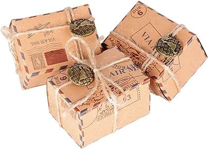 50 Pcs Cajas de Papel Kraft de Caramelo Dulces Bautizo