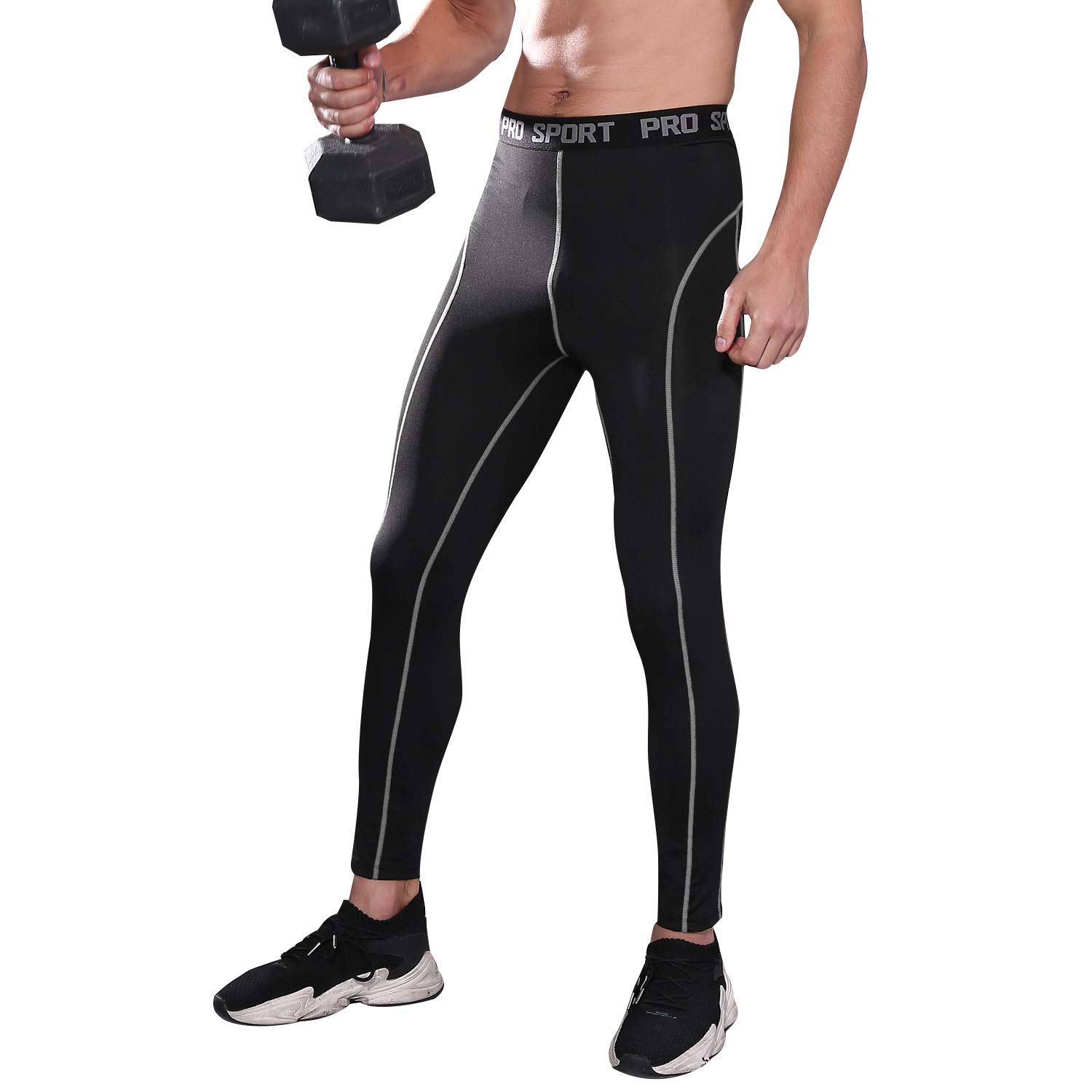 FANDIMU Mens Compression Pants Base Layer Workout Leggings Quick Dry Running Tights