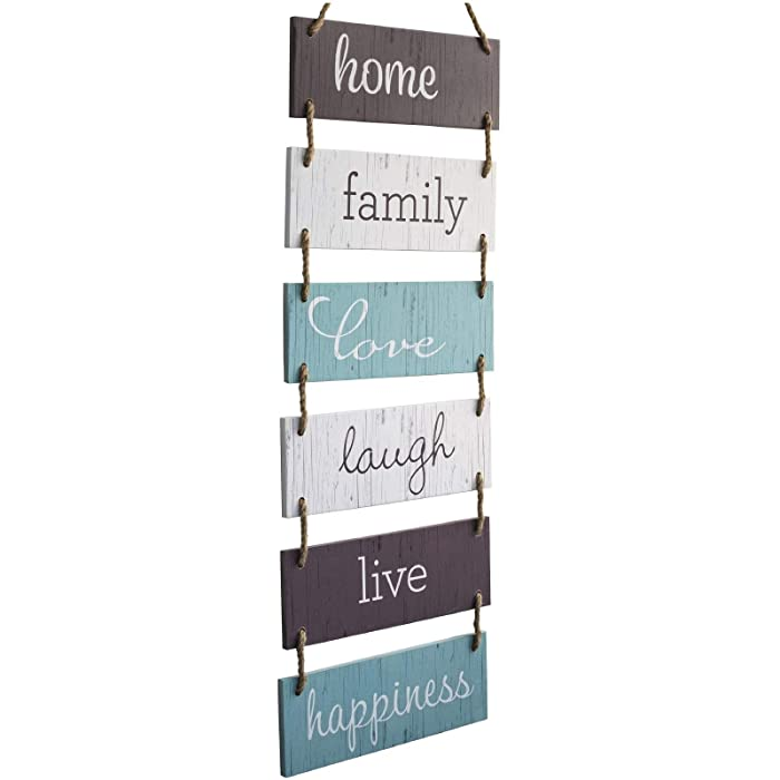 "Excello Global Products Large Hanging Wall Sign: Rustic Wooden Decor (Home, Family, Love, Laugh, Live, Happiness) Hanging Wood Wall Decoration (11.75"" x 32"")"