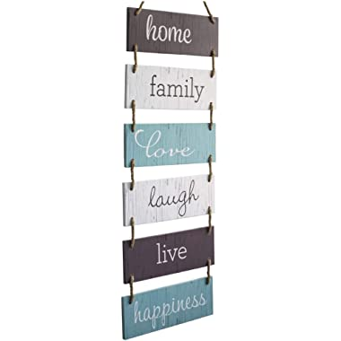 Excello Global Products Large Hanging Wall Sign: Rustic Wooden Decor (Home, Family, Love, Laugh, Live, Happiness) Hanging Wood Wall Decoration (11.75  x 32 )