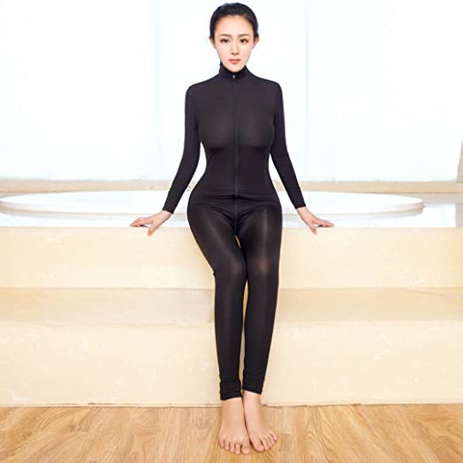 FAPIZI Clearance Women Striped Bodysuit Zipper Ladies Long Sleeve Strapless Open Crotch Lingerie Jumpsuit (Black