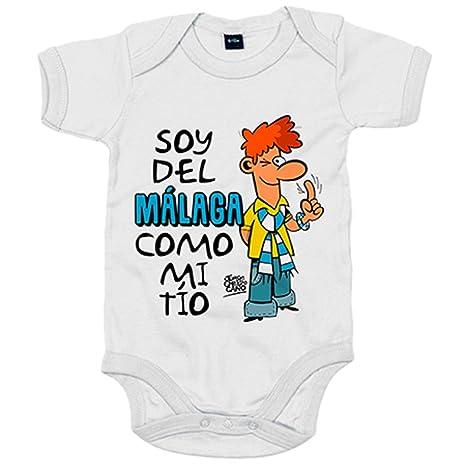 Body bebé soy del Málaga como mi tío Jorge Crespo Cano - Blanco, 6-