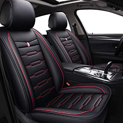 Skysep Cartoon Full Set Universal Fit 5 Seats Car Surrounded Waterproof Leather Car Seat Covers Protector Adjustable Removable Auto Seat Cushions (Black-red): Automotive