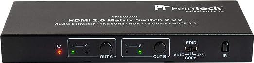 Feintech Vms02201 Hdmi 2 0 Matrix Switch 2x2 Mit Audio Elektronik