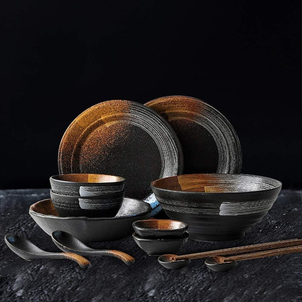 3 Types de Combinaison Bol YXQ-* Vaisselle Japonaise r/étro d/éfinie Texture Plat Plaque Plat Plat Bol Bol Assiette Plate m/énage Costume Multi-Personne Costume Restaurant h/ôtel Vaisselle