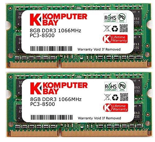 Komputerbay 16GB Dual Channel Kit 2x 8GB 204pin DDR3-1066 SO-DIMM 1066 PC3-8500 (1066MHz, CL7) for Apple