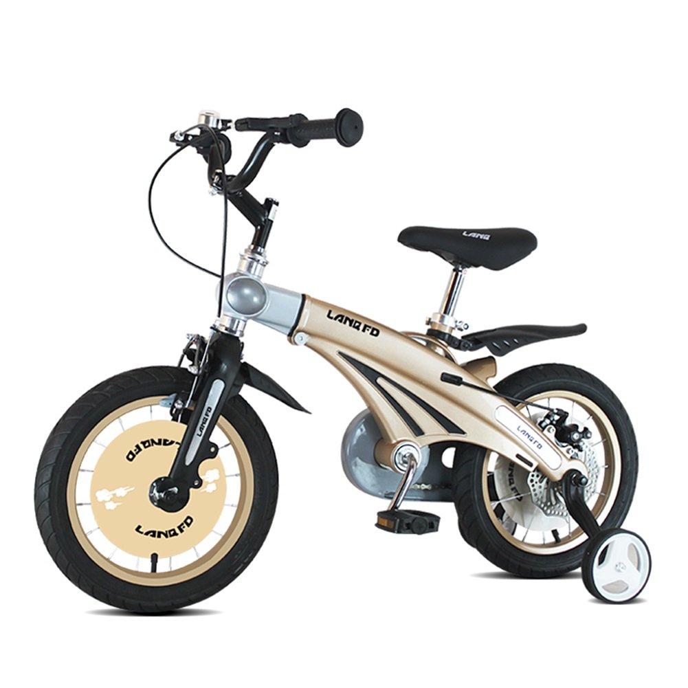XQ 子供用自転車12インチマグネシウム合金テレスコピックモデルベビーベビーキャリッジ子供の男性と女性のモデル自転車 シャンパンゴールド 子ども用自転車 B07CG9JHC5