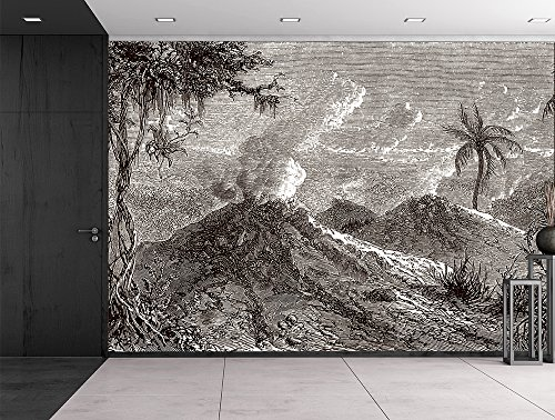 La Tour du Monde 1872 engraved Volcanoes Turbaco Black and White Historical Etching Wall Mural