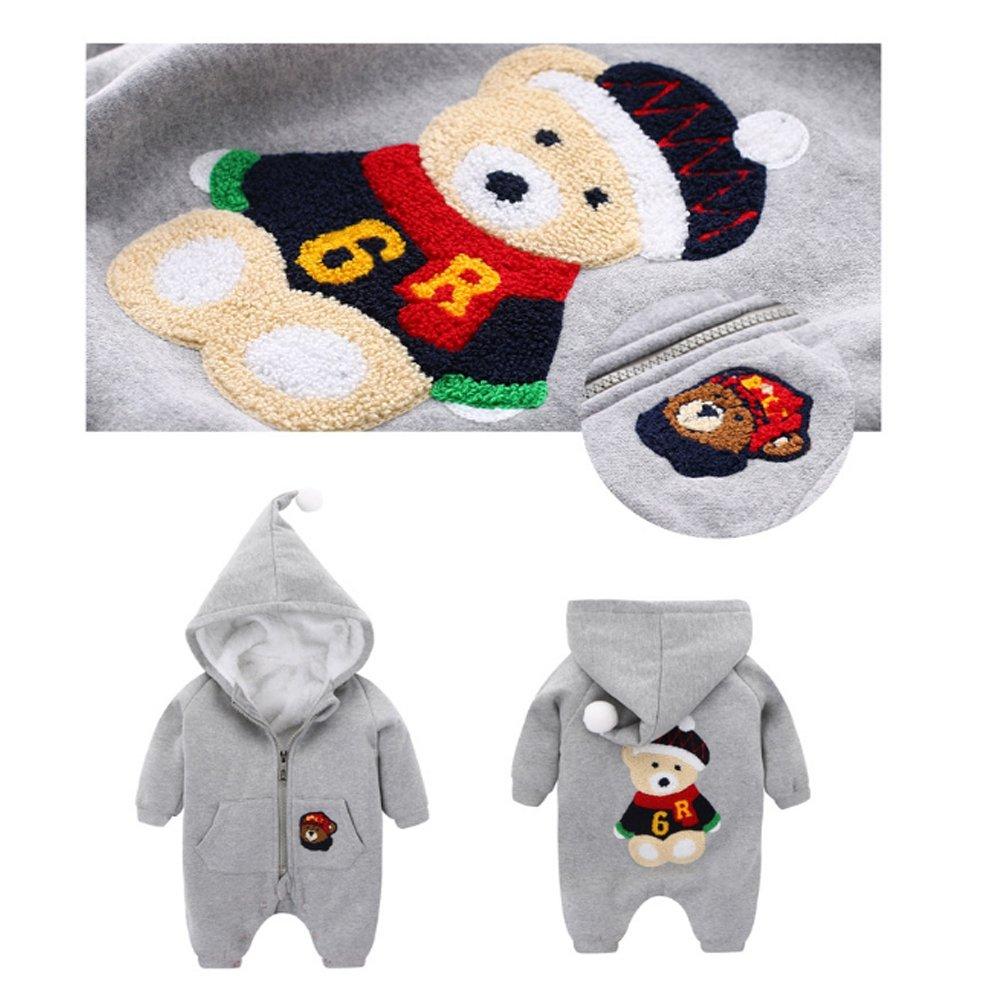 Fairy Baby Unisex Baby Fleece Jumpsuit Winter Hoodies Romper for Christmas