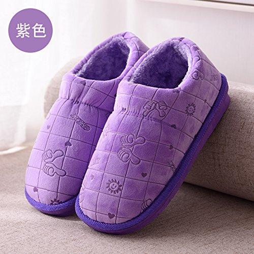 cotone di Autunno home coppie spessore pantofole La caldo uomini spessore codice DogHaccd cotone grande piscina soggiorno di Scarpe di Inverno pacchetto pantofole con donna porpora1 antiscivolo OUqFF5wz