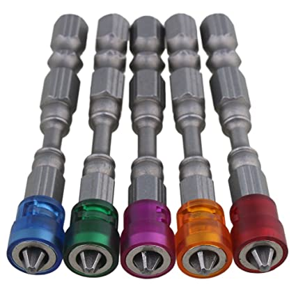 BQLZR 1/4 S2 acero cromado yeso magnético destornillador Bits PH2 L65 X d9 mm para paneles de yeso tornillo brocas vástago hexagonal con profundidad ...
