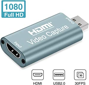 GOODAN Audio Video Capture Cards HDMI to USB 1080p USB2.0 Record via DSLR Camcorder Action Cam for High Definition Acquisition, Live Broadcasting (Gray)