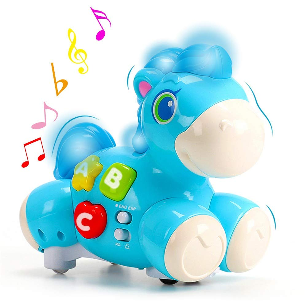 Happy Learning Horse, NEEDOON Bilingua Horse (English & Español) Musical Baby Toy with Horse Sounds and Nursery Songs Light for Chase Game and Early Education Infant Baby Toddlers (Blue) by NEEDOON