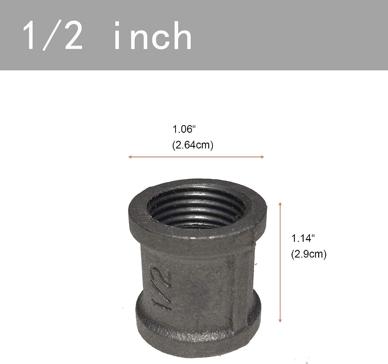 per mobili vintage fai da te Raccordo per tubo da 1//2 GPOWER confezione da 20 pezzi in ghisa malleabile
