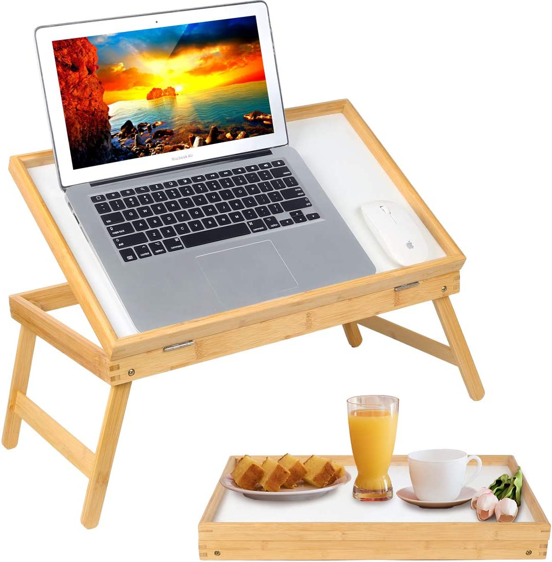 Bamboo Lap Desks Bed Table Breakfast Tray with Folding Legs Kitchen Serving Tray for Notebook Computer Bed Platters Desk Snack Tray(Beige)