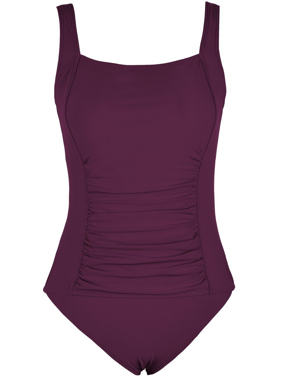 Mycoco Women's Shirred One Piece Swimsuit Tank Bathing Suits Tummy Control Swimwear Burgundy 10