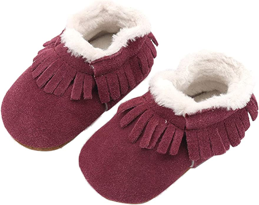 XUANOU Baby Girl Keep Warm Plush Soft Snow Boots Soft Crib Shoes