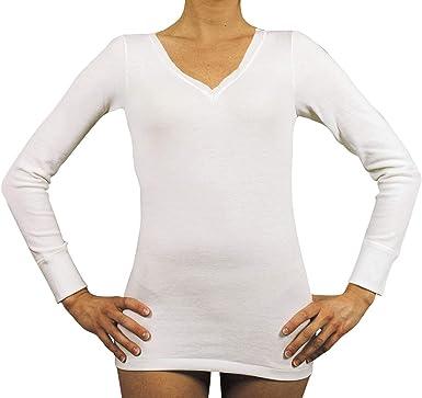 Velan 40202 - Camisete térmica Manga Larga Cuello en V Ropa Interior para Mujer Lana y algodón: Amazon.es: Ropa y accesorios