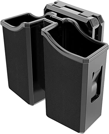 Double Magazine Holster,9mm .40 Universal Magazine Holder.Compatible Duty Belt Width up to2.5''.Beretta Browning BUL CZ Glock H&K Kel-Tec Ruger Sig Sauer S&W Taurus Mags,Adjustable Belt-Clip Mag Pouch