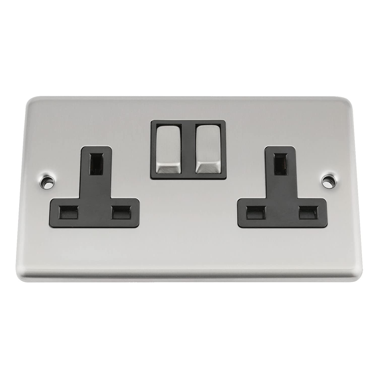 A5 Wall Double Socket 2 Gang - Satin Matt Chrome Classic - Black Insert - Metal Rocker Switch A5 Products