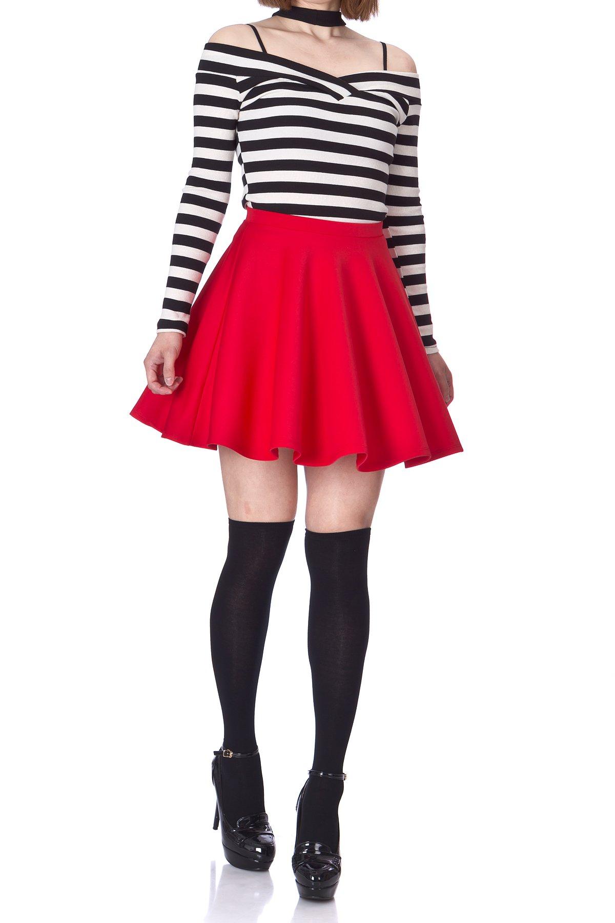 Flouncy High Waist A-line Full FlaCherry Red Circle Swing Dance Party Casual Skater Short Mini Skirt (L, Cherry Red)