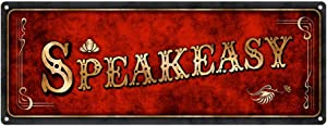 "Homebody Accents Red Speakeasy Metal Sign, 4""x12"", Art Deco, Vintage, Retro, Game Room, Den, Wall Décor"