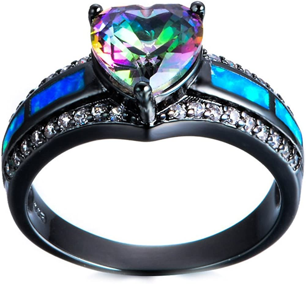 FJT Jewel Jewelry Pink Fire Opal Ring Jewelry Vintage Ring For Women Wedding Engagement Rings