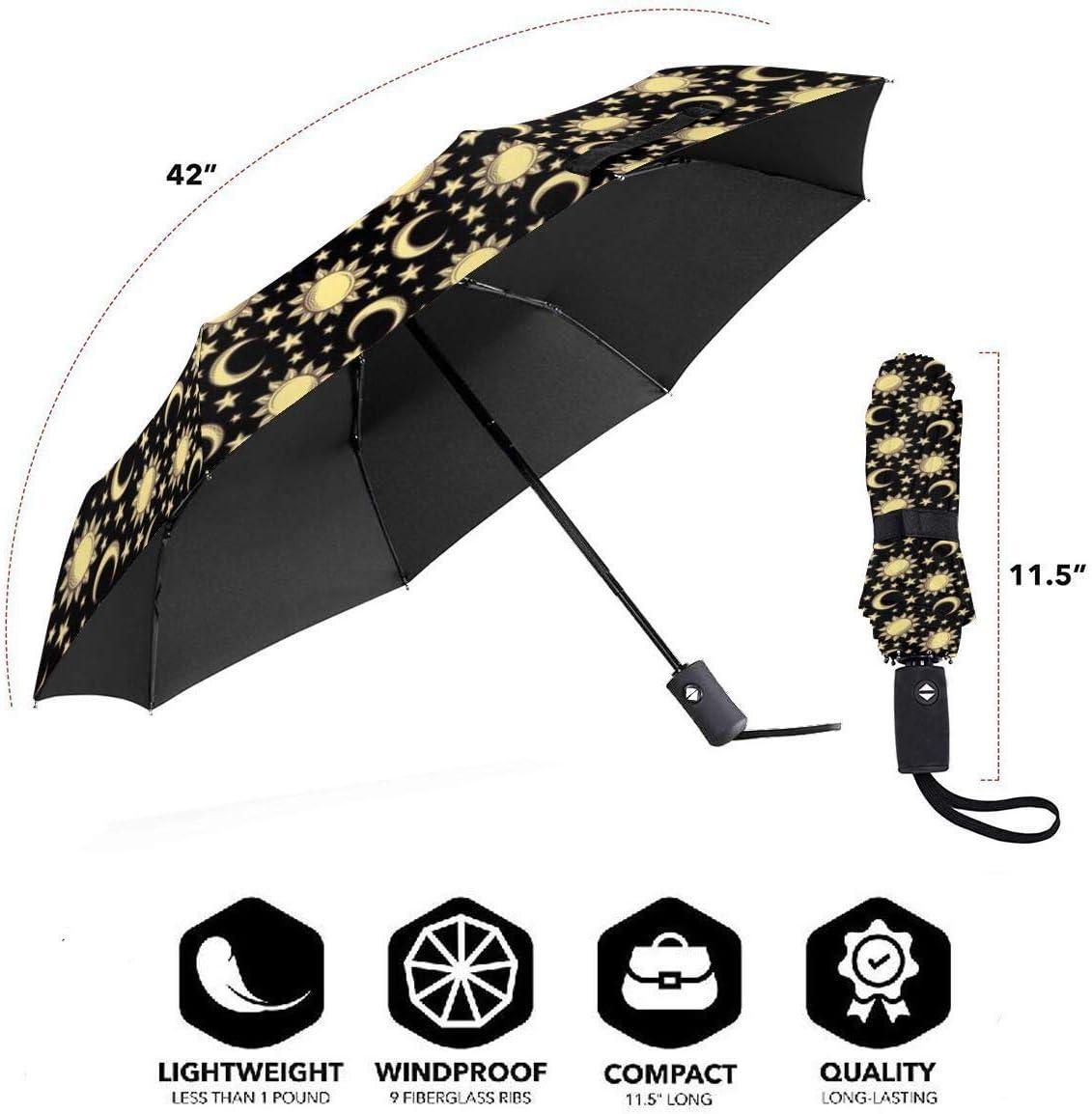 Sun Moon Star Umbrella Compact Rain/&Wind Repellent Umbrellas Sun Protection With Anti UV Coating Travel Auto Folding Umbrella