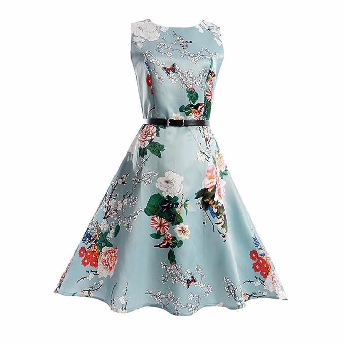 Vestido Vintage Estampado de Niñas Años Fiesta Cóctel Vestido Verano sin Mangas con Cinturón ❤️