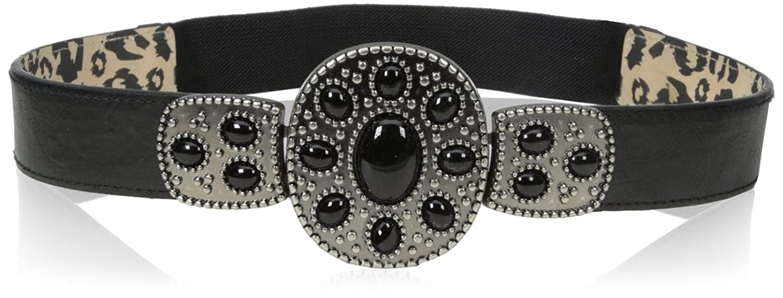 Betsey Johnson womens Stone Stretch Belt Black/Black Small/Medium Betsey Johnson Womens Belts BBP3066