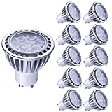 LAMPAOUS 7W GU10 LED bulb Light,Cool White Color 6000K, 500 Lumens, 50 Watt Halogen GU10 Lamp Enquivalent, 45 Degree Beam Angle,Non Dimmable, CRI>85, 10-Pack